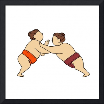 Rikishi Sumo Wrestler Pushing Side Mono Line