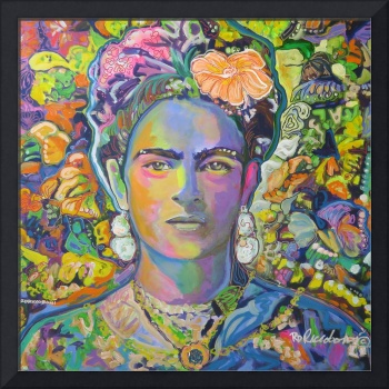 Purple Frida with the orange flower