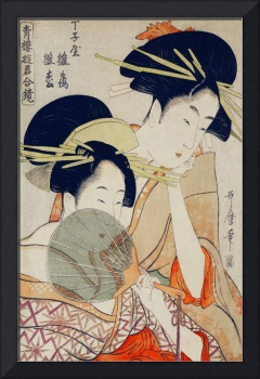 Courtesans with Fan by Utamaro Kitagawa