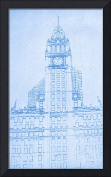 The Wrigley Building in Chicago Blueprint