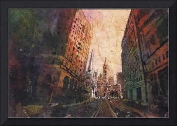 Watercolor batik painting of City Hall- Philadelph