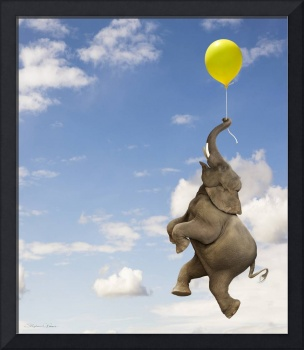 Elephant grasping the balloon string floating up