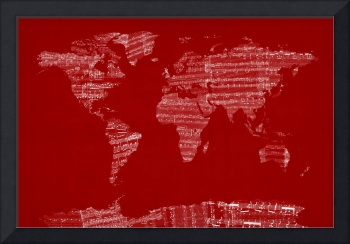 World Map Sheet Music Red