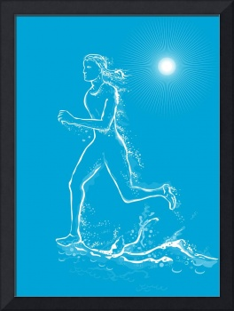 female runner running water
