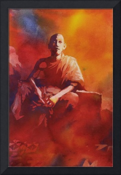 Watercolor painting of Cambodia monk