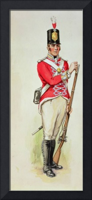 British soldier in Napoleonic times carrying a mus