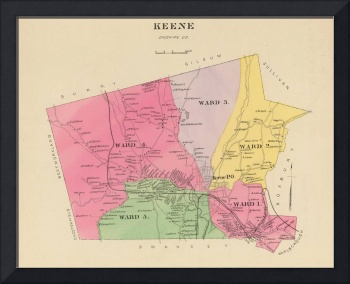 Vintage Map of Keene New Hampshire (1892)