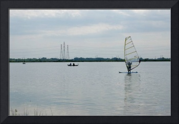Photo Wind Surfer and Fishing Boat