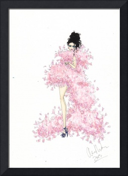 Fashion Art Pink Feathered Dress Illustration