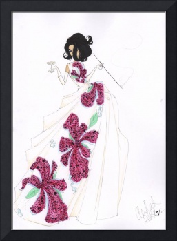 Fashion Art Tropical Silk Dress Illustration