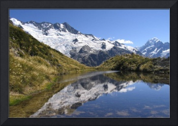Glaciers and Mount Cook reflected in Sealy Tarns
