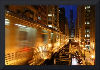 Chicago Elevated train at night