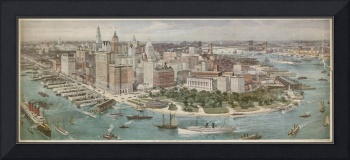 Vintage Pictorial Map of New York City (1914)