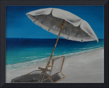 White Umbrella and Lounger