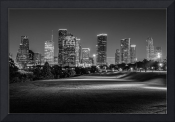Houston Skyline in Black and White