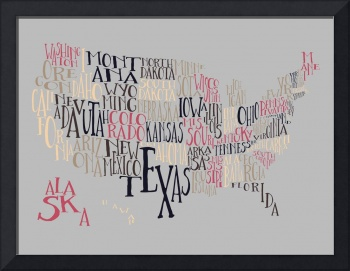 Vintage Bubble Gum US Typography Map