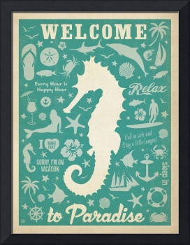 Welcome to Paradise Retro Poster