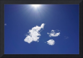 Blue Sky Fluffy White Clouds Art Sun Rays
