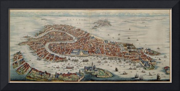 Vintage Pictorial Map of Venice Italy (1704)