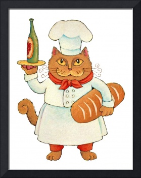 Chef Cat with Wine & Bread