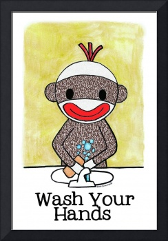 Sock Monkey Bath Room Reminder - Wash Your Hands