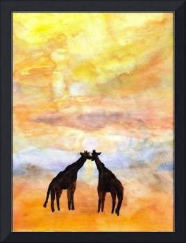 Giraffes in Sunset