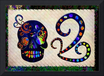 Mexican Skull Festive Folk Art