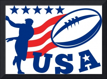 American USA Rugby Player passing Ball