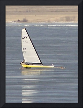 ice sailer on lake