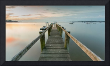 Boat Dock at SunriseGrey Blue Panorama