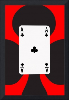 Playing Cards Ace of Clubs on Red Background