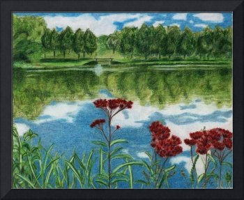Lake with Red Flowers