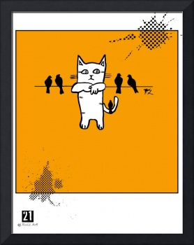 Cat hanging with birds Poster