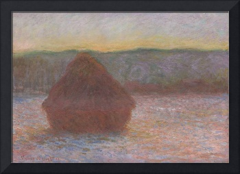 Haystacks, Thaw at Sunset by Claude Monet