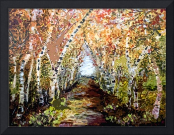 Birch Trees Landscape OrigiDigi by Ginette