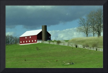 Big Red Barn on a hill