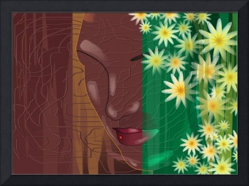 Silhouette of lady shy face covering with flower c