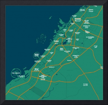 Minimalist Modern Map of Dubai, UAE 2