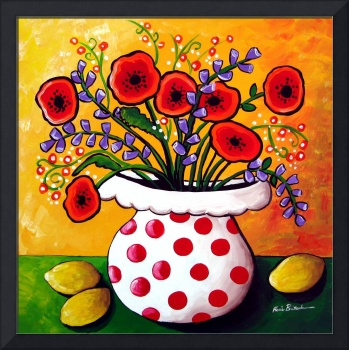 Red Poppies in Polka Dot Vase
