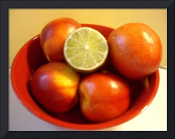 Nectarines and a Lime