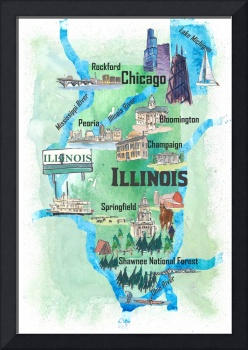Illinois USA State Illustrated Travel Poster Favor
