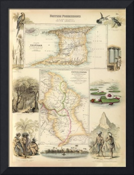 Vintage British Colonies of South America Map (187