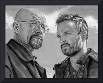 Walter White and Jesse Pinkman (black and white)