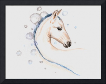Little White foal with blue mane