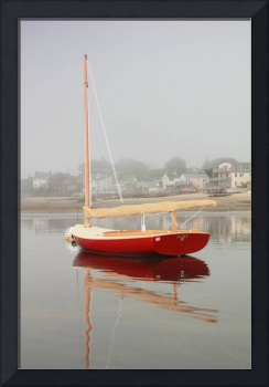 Red Catboat on Provincetown Harbor, Cape Cod