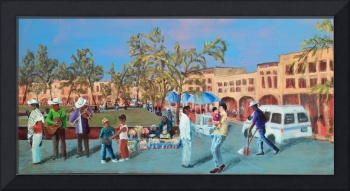 mexican Plaza Triptych - right panel