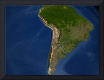 Glaciers in regions of South America.