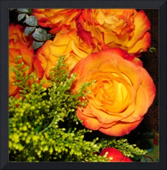 Vintage Orange and Yellow Roses