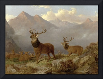 Stags And Hinds In A Highland Landscape, 1864 (oil