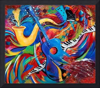 Colorful Music Art Musical Guitar Decor